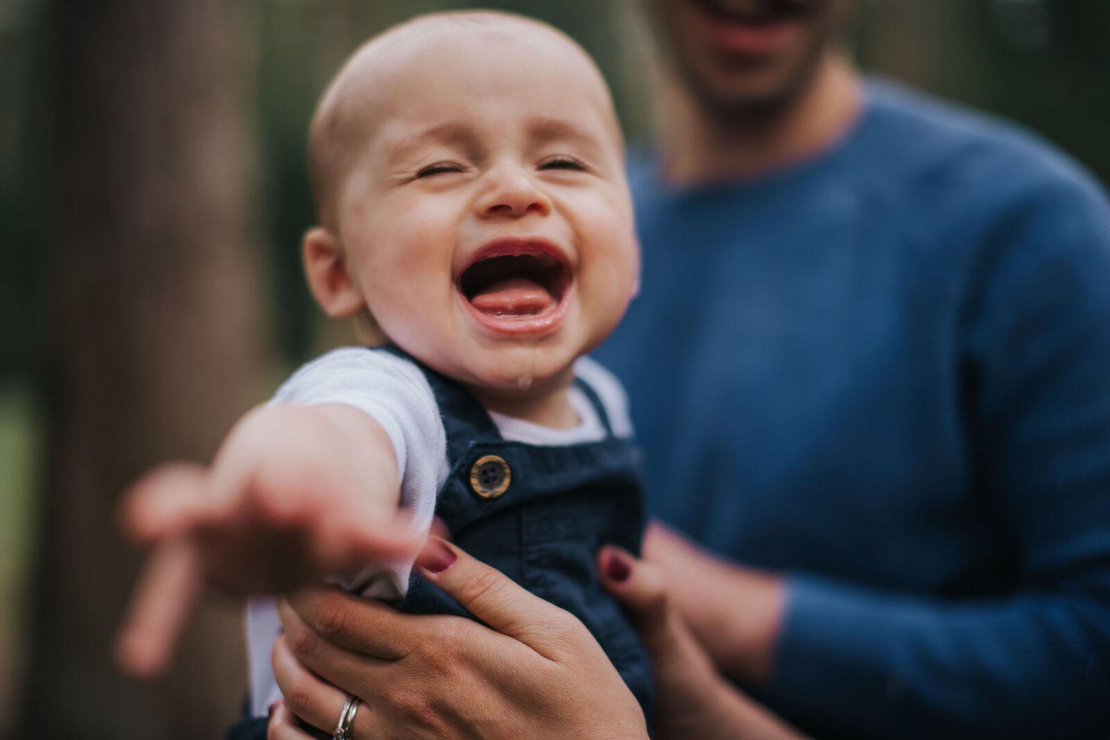 Happy teething baby photo